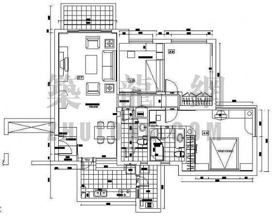 某家装全套施工设计图纸(三室两厅两卫)