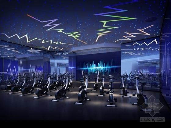 [广州]时尚动感前卫健身俱乐部室内施工图(含效果图)-[广州]时尚动感前卫健身俱乐部室内动感单车效果图