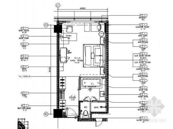 [广州]五星级酒店高档标准单人房装修施工图