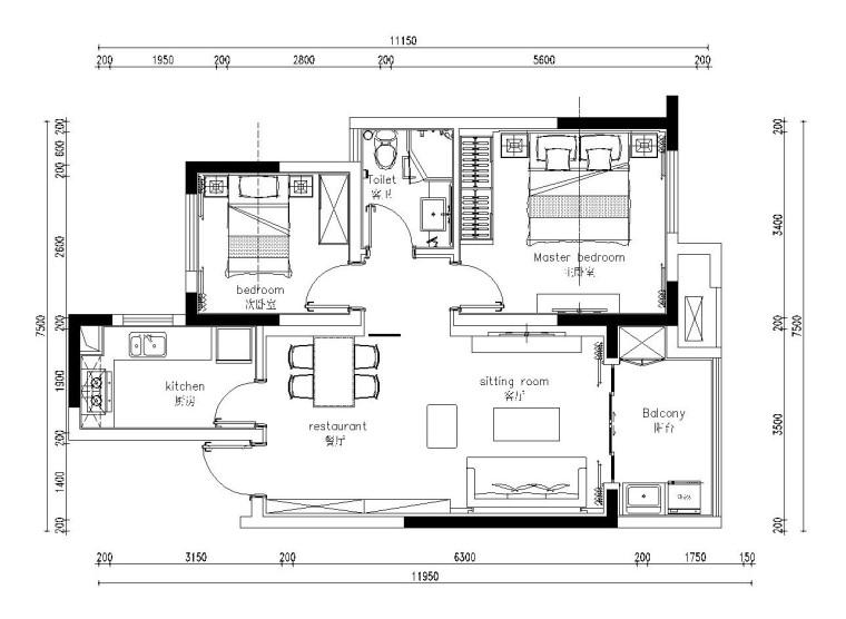 85平米现代简约风格小户型装修施工图(附效果图)