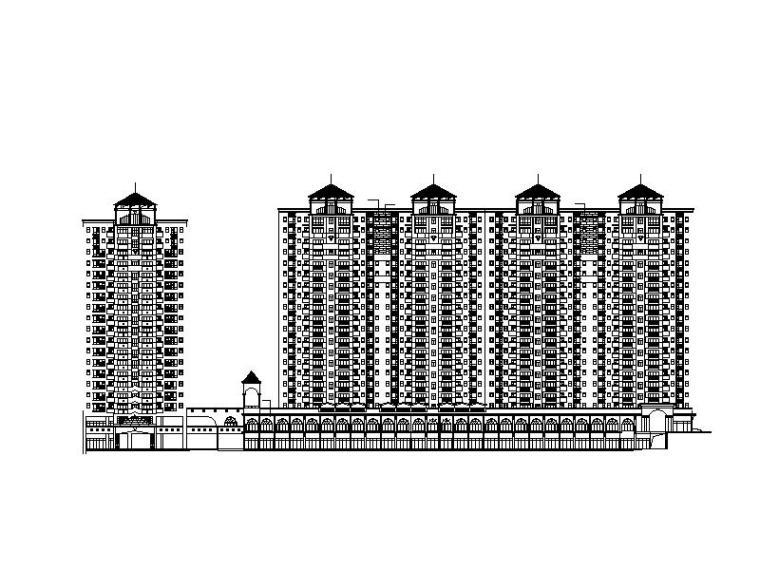 某欧式高层居住区建筑施工图