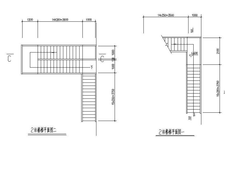 简单式钢结构楼梯平面立面剖面图