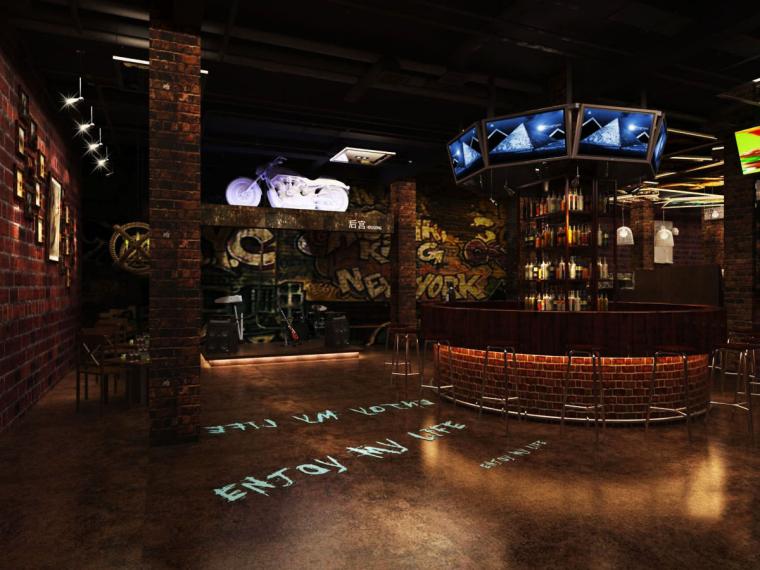 复古风酒吧3D成套模型及高清贴图