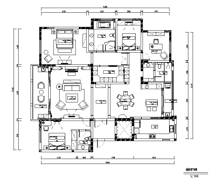 简约优雅美式风格样板间设计施工图(附效果图)