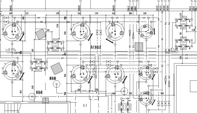 海口丹娜给排水施工图(含泵房大样,卫生间大样,中水处理系统,气体灭火布置图,太阳能热水屋顶平面图)_3