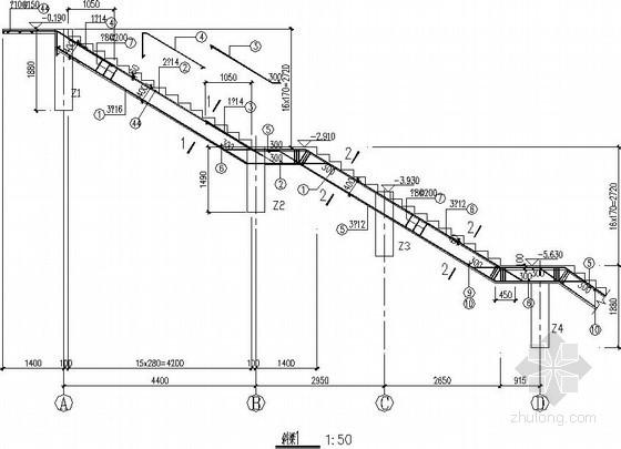 复杂梁式楼梯、折梁节点构造详图