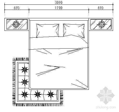 双人床平面图
