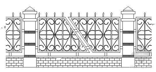 小区别墅四种围墙施工图