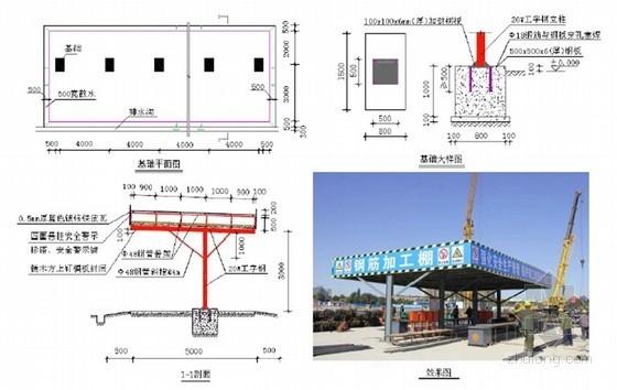 [安徽]商业楼文明施工观摩工地策划方案(多图)-单立柱形式钢筋加工棚