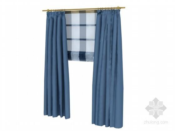 蓝色窗帘3D模型下载
