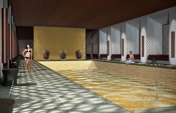[武汉]特色奢华五星级度假酒店设计概念方案图游泳池效果图