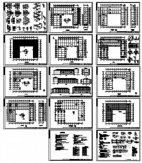 金华某三层框架二层砖混生产车间宿舍楼结构设计图