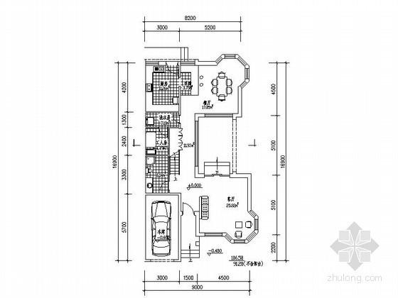 某三层带车库端头户型联排别墅平面图(南入口、274平方米)