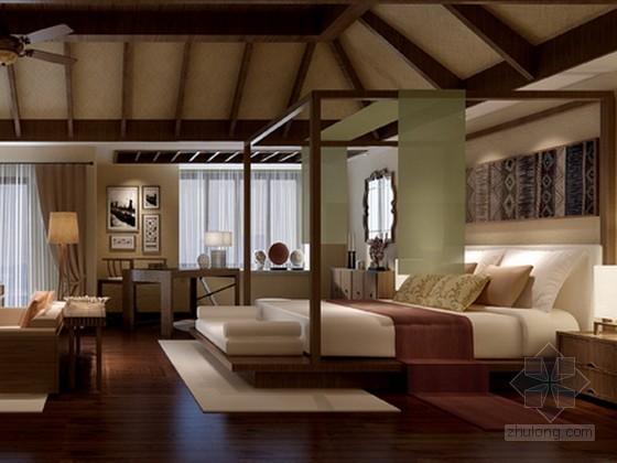 东南亚风格主卧室3d模型下载