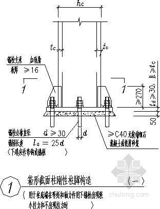 箱形截面柱刚性柱脚构造节点详图