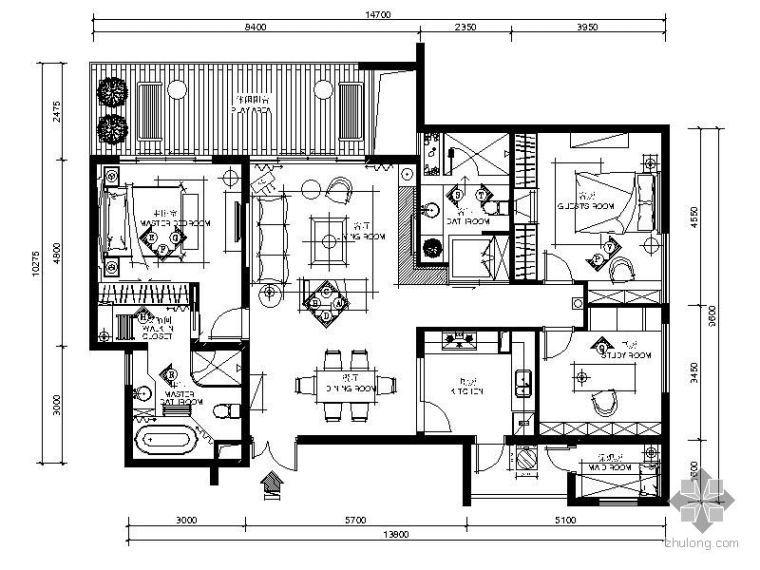 [重庆]150平三居室装修图(含效果)