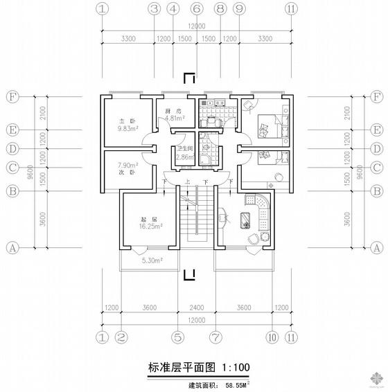 板式多层一梯两户二室一厅一卫户型图(59/59)