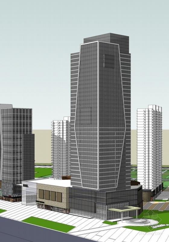 现代风格城市综合体规划透视图