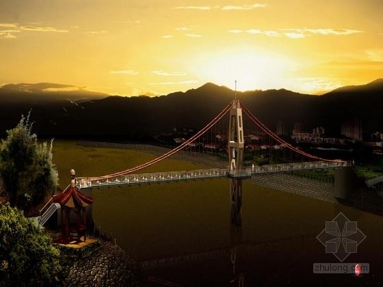 公园人行悬索桥施工图纸(24张)