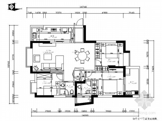 现代三居室装修设计图