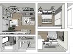 成套北欧风格SU模型【两室一厅】