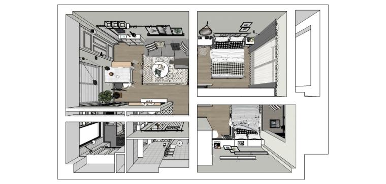 成套北欧风格SU模型[两室一厅]