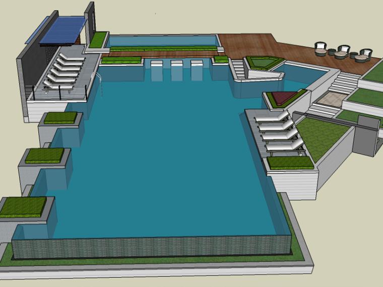 中式客家居住区景观设计方案SU模型(廊架,车库)