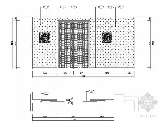 [成都]地级市典雅中式风格酒店室内装修施工图dwg.zip雅间立面图