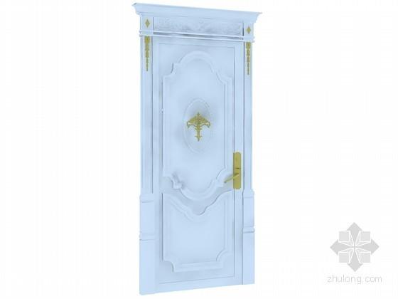 白色欧式门3D模型下载