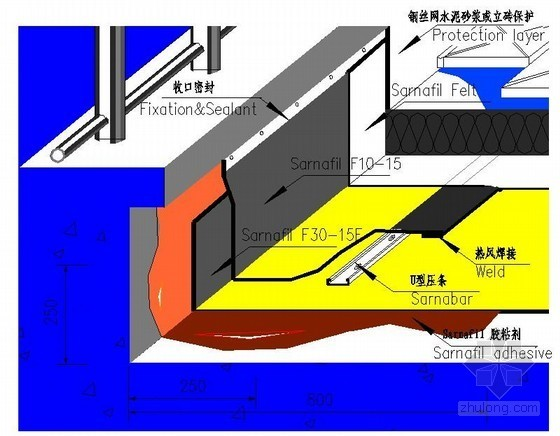 上人屋面防水做法详图(渗耐空铺系统)