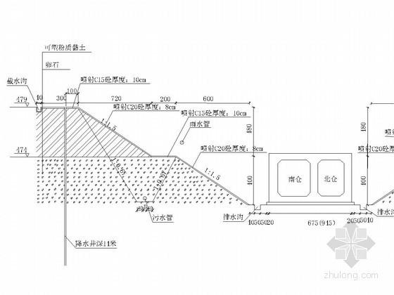 基坑放坡开挖及挂网喷射混凝土支护详图