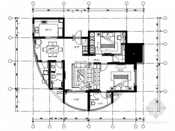 极简风格两居室样板房装修设计施工图(含效果)