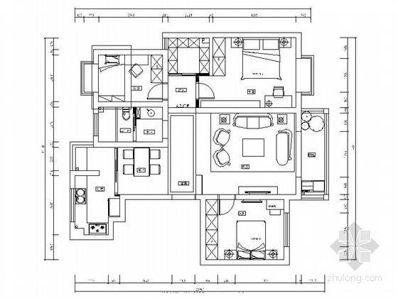 [宁波]花园小区高档三居室样板间装修施工图