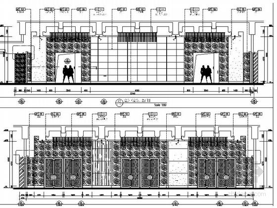 [四川]2.79亿夺标大厦改建四星级高档奢华酒店装修施工图(含方案)宴会厅立面图