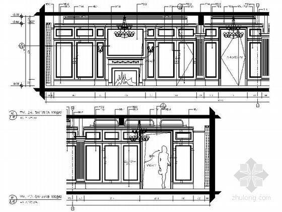 美式风格三居室设计装修图(含效果)客厅餐厅过道立面图
