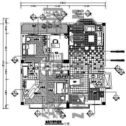 某居室装饰设计图(四室两厅两卫)
