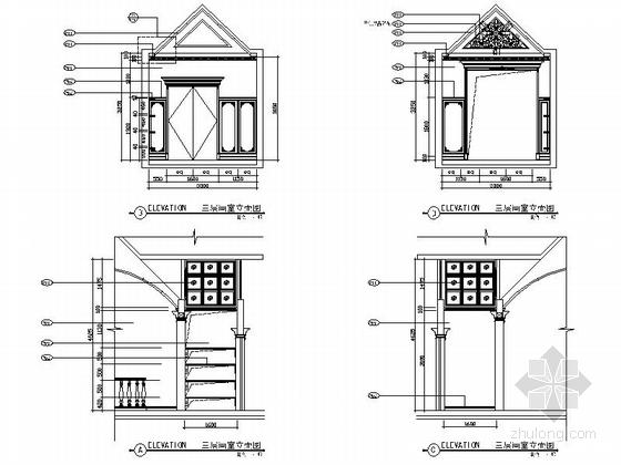 精品豪华欧式风格三层别墅室内装修施工图(含方案效果图)画室立面图