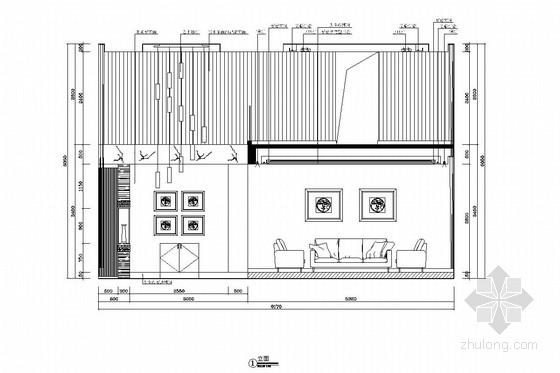 [广州]山水之间新中式风格三层别墅装修图(含效果图)客厅立面图
