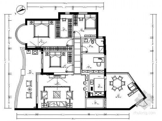 [海南]精品高雅简欧风格四居室室内装修施工图(含效果)