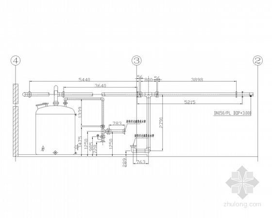 化学清洗间管道安装剖面图