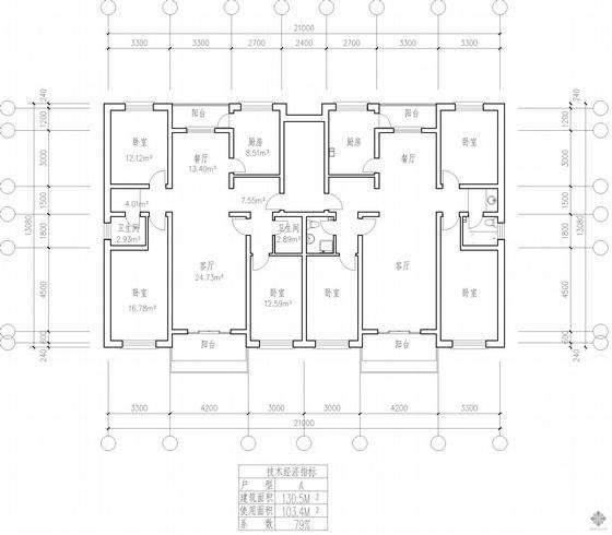 板式多层一梯两户户型图(131/131)