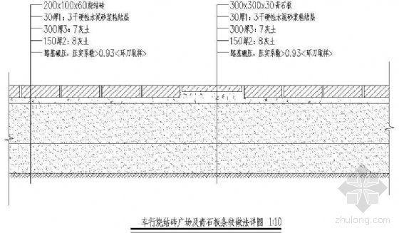 车行烧结砖广场及青石板条纹做法详图1
