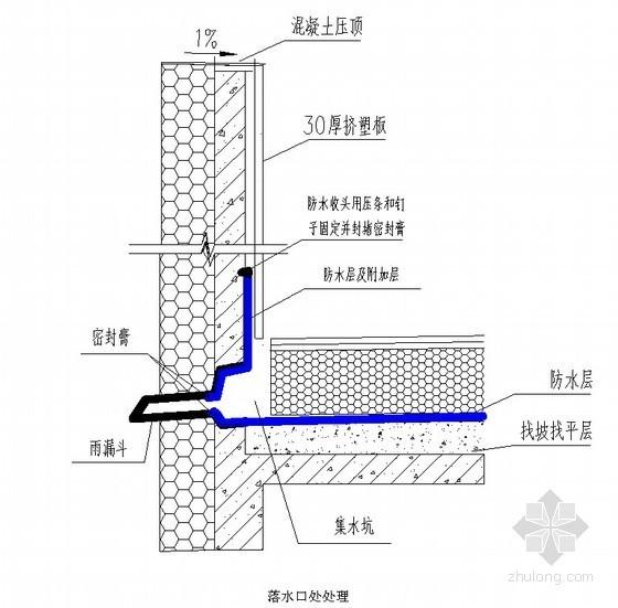 屋面防水工程落水口处处理节点详图