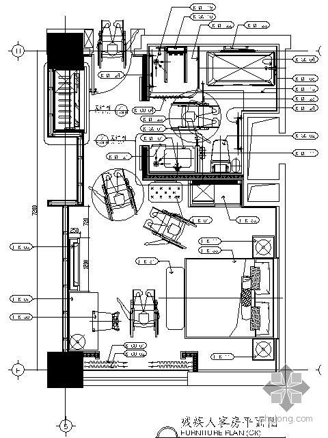 酒店残疾人客房施工图