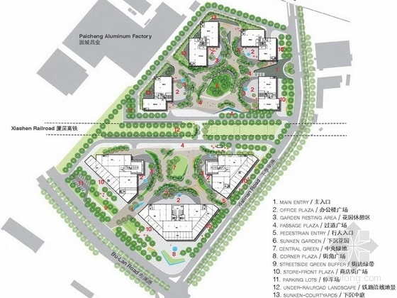 """[深圳]硬景观共生可持续性""""弯月口袋""""创意园景观设计方案"""