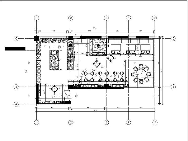 [广州]小型简约体验餐厅设计施工图(含效果图)