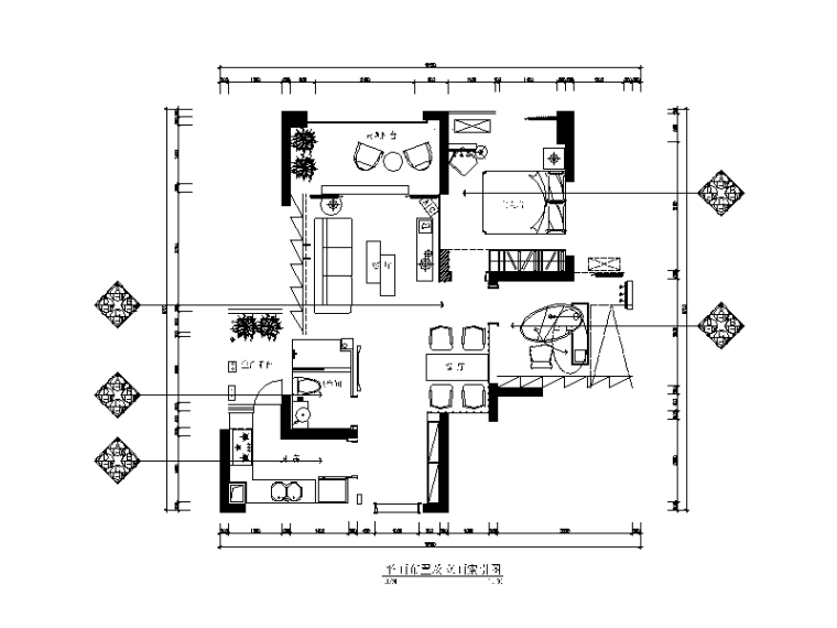 现代风格小户型设计cad施工图(含效果图)
