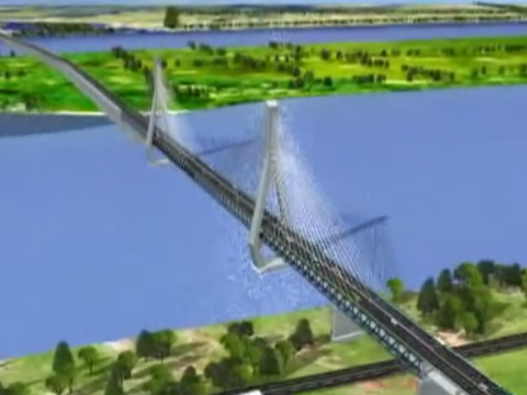 双塔三索面公铁两用钢桁梁斜拉桥施工动画演示视频12分钟