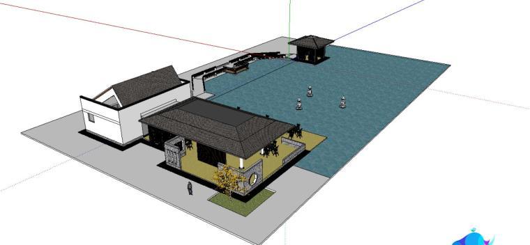 园林庭院景观小场景设计SU模型