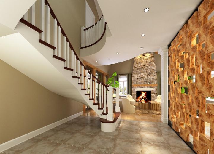 美式-复地爱伦坡别墅室内设计方案图(含效果图,施工图)-楼梯口效果图